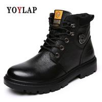 erkekler için en sıcak ayakkabılar toptan satış-YOYLAP Erkekler Ayakkabı Sonbahar Kış Motosiklet Erkekler Boots Yüksek Kesim Dantel-up Sıcak Rahat Ayakkabılar Moda siyah kahverengi