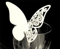 formas de tarjetas de mariposa al por mayor-Diy forma de mariposa tarjetas del lugar del banquete de boda decoración del hogar tarjeta de inserción con color de la mezcla hueco en la taza respetuoso del medio ambiente 0 23dd jj