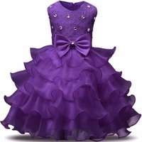 Wholesale wear summer clothes for winter - 2018 Flower Girl Dress Princess Tutu Dresses for Wedding Girls Clothes Party Kids Wear Ceremonies Baby Birthday Baptism Cake Dress 9color