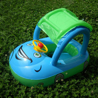 Wholesale baby swim car resale online - Dhl fast ship summer steering wheel sunshade swim ring car inflatable baby float seat boat pool tools accessories for kids toys