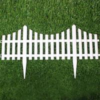 Wholesale White Plastic Fencing - 5pcs Plastic Garden Fence Easy Assemble White European Style Insert Ground Type Plastic Fences For Garden Countryyard Decor