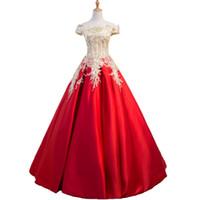 cabos de longitud de piso al por mayor-Rojo de diseño de los vestidos de noche del cordón 2020 Cap mangas ilusión largo cristalino de vestidos de baile vestido de la longitud del piso vestidos del partido de compromiso