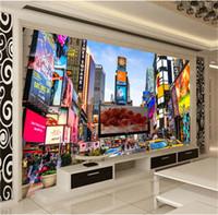 papel de parede quadrado 3d venda por atacado-Personalizado 3D Foto Papel De Parede Times Square New York Moderna Street View Loja Bar Quarto Sala de estar Tema Papel De Parede 3D Estéreo Mural