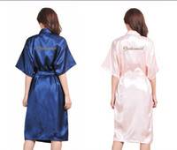 Wholesale Bridesmaid Bachelorette Party - glitter wedding satin robes Bride Bridesmaid maid of honor mother of bride kimonos Bachelorette parties decorations 5pcs lot free shipping