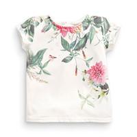 kleines mädchen sommert-shirt großhandel-Little Maven Neue Sommer Kinder Kleidung Kurze O-Hals Chinesische Blumenmalerei Gedruckt T Gestrickte Baumwolle Mädchen Lässig T-shirt