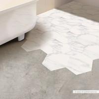 Wholesale Bathroom Marble Walls - 10 PCS Set Marble Tile Decorative White Floor Stickers DIY Hexagon Self-adhesive Art Wall Decal Sticker Bathroom Decor
