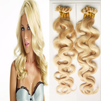 Wholesale blonde fusion extensions - Blonde Hair 200g 1g strand Double Drawn Fusion Hair body wave Nail U Tip Machine Made Remy Pre Bonded Hair Extension