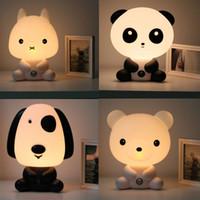 Wholesale Night Pandas - NEW Baby Room Panda Rabbit Dog Bear Cartoon Night Light Kids Sleeping Bed Lamp Night Sleeping Lamp Best LamparasGifts EU US Plug