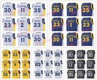 Wholesale royal blue shirts cotton - 20172018 New Men Swingman Jersey 30 Curry 35 Durant 11 Thompson 9 Iguodala 23 Green Royal Blue Jerseys All Star NCAA Basketball Shirts