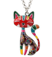 Wholesale cloisonne plates online - BEIJIA Statement Enamel Cat Kitten Necklace Pendant With Specular Effect Chain Collar Souvenir New Fashion Jewelry For Women
