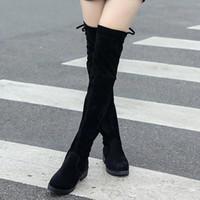 plattform lange stiefel großhandel-Frauen, die Schuhplattform-klumpige Ferse über dem Knie ausdehnen, stiefelquadratkappe Ferse aus echtem Leder Wildleder schlanke lange Stiefeletten US-Größe 5.5-8.5