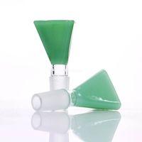 jade de 18 mm al por mayor-Tazón de vidrio cónico de jade pato azul jade verde 14 mm / 18 mm para pipa de agua de vidrio o burbujeador de burbujas