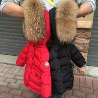 yürümeye başlayan kız için ceket toptan satış-2018 Çocuklar Aşağı Ceket Kalınlaşma Beyaz Ördek Aşağı Sıcak Ceket Bebek Kız Erkek Büyük Raccon Kürk Parkas Yürüyor Boys Sıcak Cek ...
