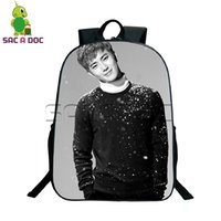Wholesale exo bags - 16 Inch Kpop EXO Backpack Young Women Men Daily Backpack Korean School Bags for Girls Boys Casual Travel Bag Laptop