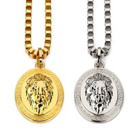 Wholesale mens long silver chain - Fashion 18K Gold Silver Plated Lion Medallion Head pendants Hiphop franco long necklaces gold Chain for mens bijouterie High Quality..