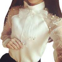 Wholesale organza tops - 2018 New Summer elegant organza bow of pearl white blouse casual chiffon shirt long sleeve women blouses tops blusas femininas
