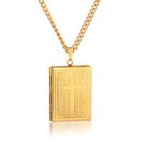 memórias de fotos venda por atacado-Moda bíblia cruz medalhão colar cor de ouro crucifixo jóias jóias caixa de foto medalhão colares pingentes para mulheres / homens presente