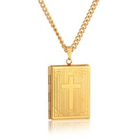 ingrosso collana di locket della scatola-Moda Bibbia Croce Medaglione Collana Color Oro Crocifisso Gioielli Memoria Foto Box Locket Pendenti delle collane per donne / uomini regalo