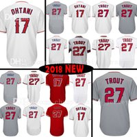 Wholesale Mens Cheap Shorts - Cheap Sale Mens Los Angeles 27 Mike Trout 17 Shohei Ohtani Jersey Mens Mike Trout Shohei Ohtani Baseball Jerseys Embroidery Logos