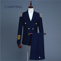 Wholesale uniform buttons - Captain uniform double-breasted suit set mens Fringe epaulet personality Cool mens suits Suitable for wedding host singers Men's 2 piece sui