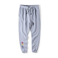 Wholesale embroidery collection - 18ss Luxury Europe London High quality Collection Rainbow Words embroidery casual sweatpants men women hiphop jogger pants