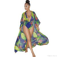 ingrosso costumi da bagno caldi per le donne-4 colori Hot Sexy Body Donna 2018 Fashion 2 pezzi Set bikini con scollo a V Stampa floreale Pagliaccetti Beach Wear Lungo Maxi Coat Swimwear