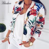 jaquetas para senhora venda por atacado-Novas Mulheres com Nervuras Guarnição Impressão Flor Jaqueta Bomber Feminino Outono Moda de Manga Longa Casual Tops Com Zíper Jaqueta Outwear Tops Soltos