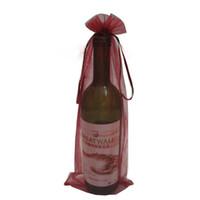 sacos de presente de garrafa de vinho organza venda por atacado-10pcs pura tampa de garrafa de vinho de organza envoltório sacos de presente (vinho tinto)