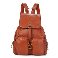 sac à dos femme en cuir marron achat en gros de-vente en gros de haute qualité mode brun noir bleu rouge cuir véritable mignon femmes sacs à dos femme fille sac à dos dame sacs de voyage M1