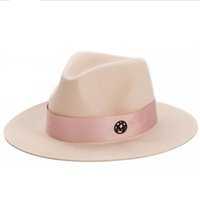 ingrosso cappello di lana rosa-oZyc Signore lana rosa feodra cappello invernale donna M lettera lana Jazz fedora rosa cappello per donna grande tesa cowboy panama fedora D18103006