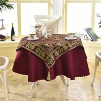 Wholesale Tablecloth Setting - Latest 2 Pcs  Set Round 140cm Luxury Sequin Outdoor Table Linens Fashion Crochet Jacquard Red Wine Garden Tablecloth Decoration