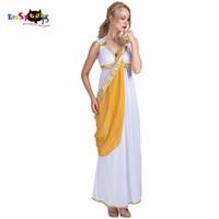 frauen griechische göttin kostüm großhandel-Frauen Sexy Griechische Göttin Römische Dame Ägyptische Kostüm Cosplay Weiße Jumpsuit Robe Kostüm für Weibliche Erwachsene Halloween Kostüme