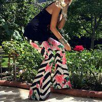 Wholesale palazzo flare pants - Summer Women Casual Pants Fashion floral printing High Waist Wide Leg Long Pants Boho Vintage flare Palazzo Trousers 6 colors
