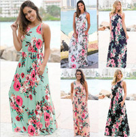 Wholesale Long Evening Dresses Style - Women Floral Print Sleeveless Boho Dress Evening Gown Party Long Maxi Dress Summer Sundress Casual Dresses 5 Styles OOA3240