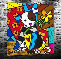 hundekunst großhandel-Romero Britto Hund, Leinwand Stücke Home Decor HD gedruckt moderne Kunst Malerei auf Leinwand (ungerahmt / gerahmt)