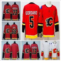 Wholesale Flame Logo - Calgary Flames 2018 Hockey Jerseys 5 Mark Giordano 13 Johnny Gaudreau 68 Jaromir Jagr 23 Sean Monahan Stitched Embroidery Logos Jersey