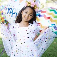 modelos de vestido de verano del bebé al por mayor-2018 Summer Models Girls Baby Flying Sleeves Color Lentejuelas Dot Dress Princesa Mesh Tutu Vestido 24M-5T