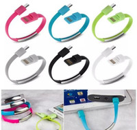 Wholesale v8 portable charger - Bracelet Hand Wrist Data Sync Charger Charging USB Cable 20cm Fast Charging Portable Noodle Usb Charger Cable For Micro V8 Android 2018