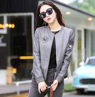 Wholesale women clothing korea xl - Korea Japan pop Women's Leather Jacket Spring-Autumn Motorcycle Coat Plus size Lady fashion Sheepskin Leather Baseball clothing