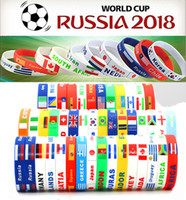 Wholesale Russia Silver - 2018 Russia World Cup sports bracelets Many countries national flags silicone Wristband For Football soccer Fans Souvenir Jewelry Gift
