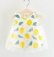 Wholesale outer clothing - 2018 Summer New Girl Dress Fruit Printed outer layer tulle Sleeveless princess dress Children Clothing 1-4T S601