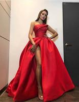 vestido rojo sin tirantes hasta el suelo al por mayor-Nueva moda rojo vestidos de noche más el tamaño 2018 Sexy alto vestido de fiesta sin tirantes sin espalda vestido de fiesta Backless piso de longitud Celebrity vestidos del desfile