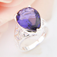 Wholesale Russia Antique - 5 Pieces 1 lot Lucky Shine Party Friend Gift Antique Fire Amethyst Crystal 925 Sterling Silver Rings Russia American Australia Wedding Rings