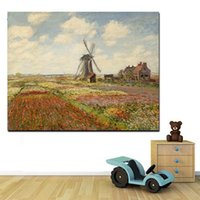 Wholesale windmill paintings resale online - Tulip Fields With The Windmill Claude Monet High Quality Handpainted HD Print Landscape Art Oil Painting Wall Art On Canvas l154