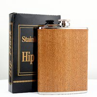oz карманная колба оптовых-Creative 8 Oz Stainless Steel Hip Flask Wooden Whiskey Wine Bottle Retro Alcohol Pocket Flagon With Box For Gifts
