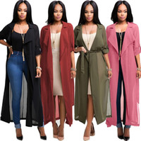 Wholesale long sleeve chiffon cardigan for sale - Women Chiffon Long Sleeve Cardigan Jacket Coat Blouse Tops Casual Coat Loose Tops Chiffon Jacket LJJK863