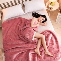 Wholesale Korean Bedspreads - Flannel blanket on the bed quilt warm throw bedspread blanket plaid for sofa plaid fleece sleeping soft winter fleece