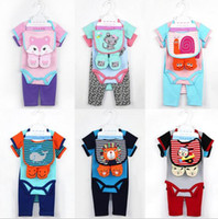 Wholesale 24m shoes resale online - Ins NEW infant baby clothing Kids Cotton Long Sleeve O neck Animals print Romper hat bib shoes cotton baby set Climb romper