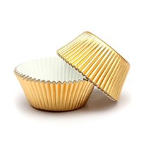 Wholesale gold muffin - 100 x Paper Cake Cup Cupcake Cases Liners Muffin Kitchen Baking Wedding Party Gold