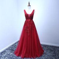 Wholesale vintage dresses cheap - 2018 Designer Burgundy Evening Dresses A Line V Neck with Appliques Open Back Vintage Prom Dress Bridal Reception Dress Cheap CPS304